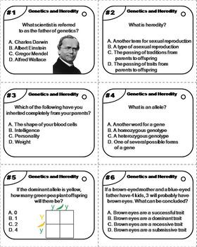 Genetics Task Cards/ Heredity Task Cards