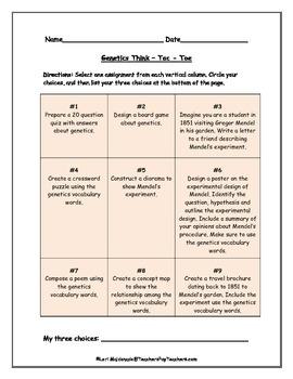 Genetics: Think-Tac-Toe Project