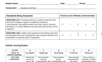 Genetics Unit Assessment Bundle (NGSS-Aligned)