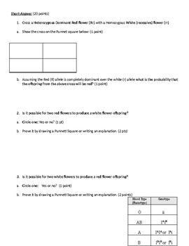 Genetics Unit Exam