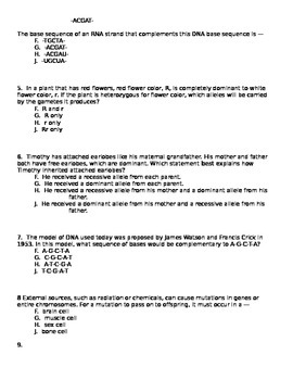 Genetics Unit Test