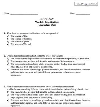 Genetics Unit Vocab Quizzes