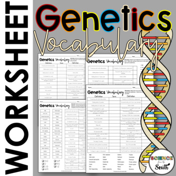 genetics vocabulary cut and paste activity by science from the south. Black Bedroom Furniture Sets. Home Design Ideas
