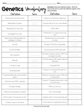 Genetics Vocabulary Cut and Paste Activity