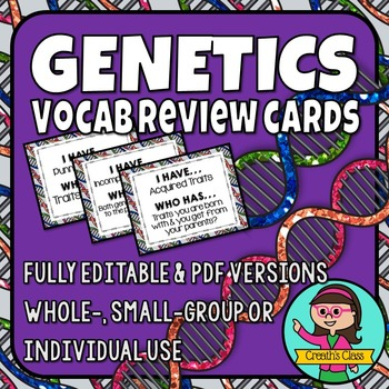 Genetics Vocabulary Review Card Game