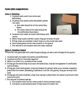 Genetics Vocabulary Lesson - Cards, Handouts & 2 Games!