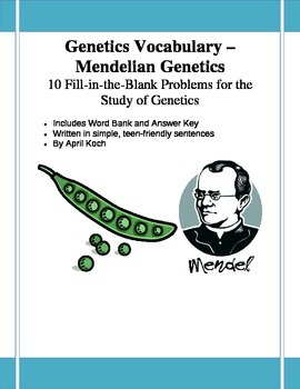 Genetics Vocabulary (Mendelian) FITB x10