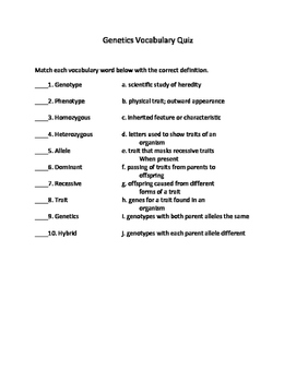 Genetics Vocabulary Quiz