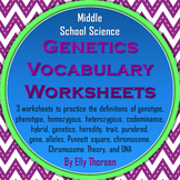Genetics Vocabulary Worksheets