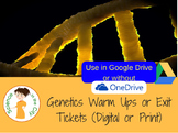Genetics Warm Up or Exit Ticket Digital Task Card Set