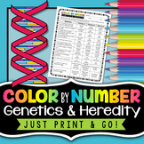 Genetics and Heredity Color by Number - Science Color By Number