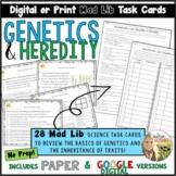 Genetics Task Cards Mad Lib and Digital