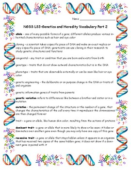Genetics and Heredity-NGSS LS3 Vocabulary Part 2