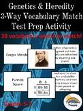 Genetics and Heredity Three Way (3- Way)  Vocabulary Match Test Prep Review Game