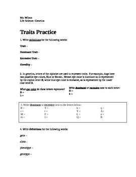 Genotype And Phenotype Worksheet | Teachers Pay Teachers