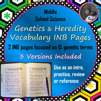 Genetics and Heredity Vocabulary Interactive Notebook Pages