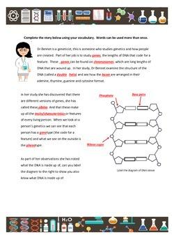 Genetics vocabulary foldable and worksheet