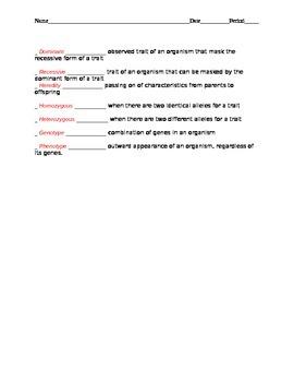 Genetics vocabulary test with key