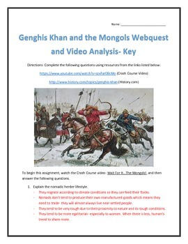 Genghis Khan and the Mongols- Webquest and Video Analysis with Key