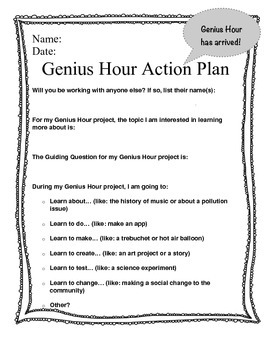 genius hour action plan by toadallyteacher teachers pay teachers. Black Bedroom Furniture Sets. Home Design Ideas