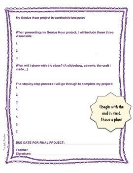 Genius Hour Action Plan in COLOR