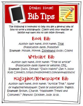 Genius Hour Bibliography Resource
