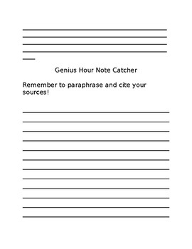Genius Hour Brainstorming, Proposal, and Notes