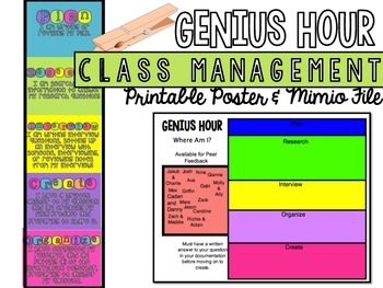 Genius Hour Class Management Poster or Mimio File