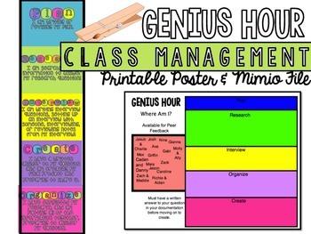 Genius Hour Class Management Poster or Mimio File