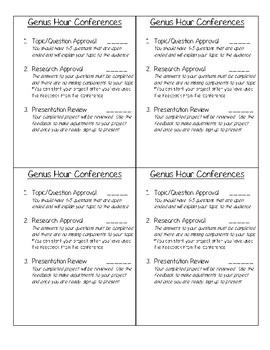 Genius Hour Conference Checklist