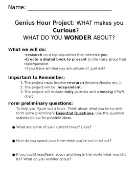 Genius Hour Idea Generator