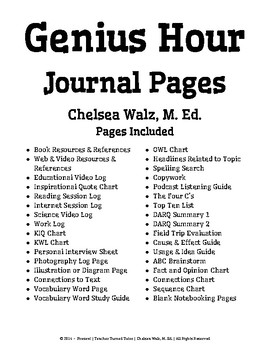 Genius Hour Journal Pages