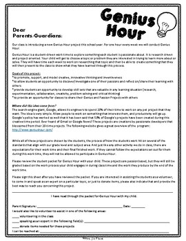 Genius Hour Packet for Students