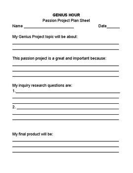Genius Hour Plan Sheet