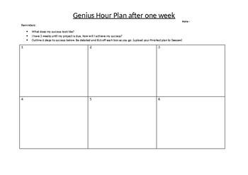 Genius Hour Plan after one week