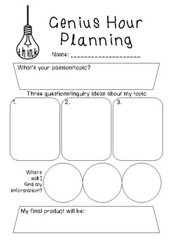 Genius Hour Planning Sheet Worksheets & Teaching Resources | TpT