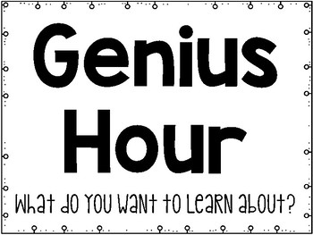 Genius Hour - Posters to Guide Kids through the Process - FREE!