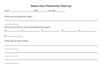 Genius Hour Productivity Check-up