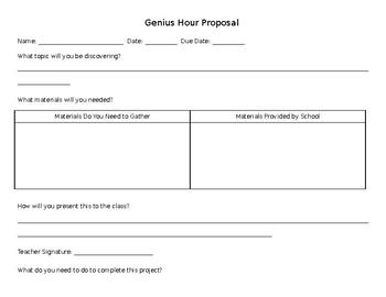 Genius Hour Proposal