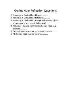 Genius Hour Reflection Questions