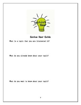 Genius Hour (Passion Project) Resource Guide: The Fat Question