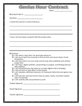 Genius Hour Student Contract
