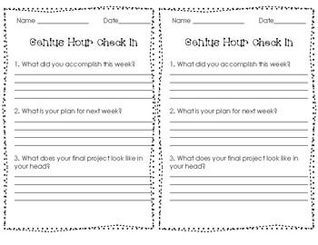 Genius Hour Teacher Check-In Form