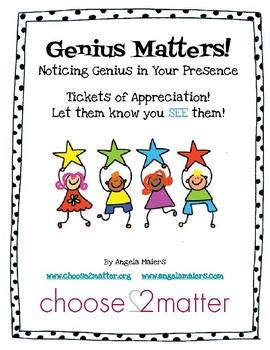 Genius Matters! Noticing Genius in Your Presence TICKETS