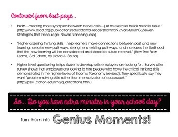 Genius Moments: Brain Building Question Cards (All Levels of Bloom's Taxonomy)