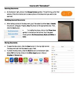 """Genius Scan Apple App - """"How to"""" Sheet"""