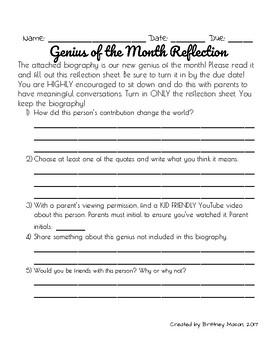 Genius of the Month (Enrichment)