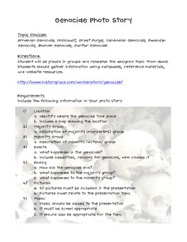 Genocide Photo Story & Rubric