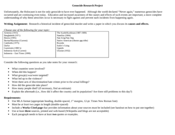 Genocide Research Paper Assignment