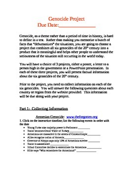 Genocides of the 20th Century Project and Webquest